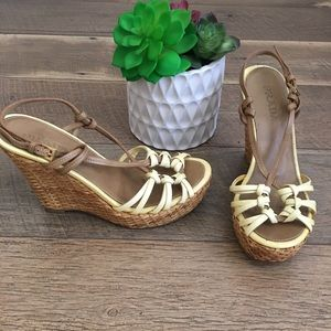 Prada straw wicker basket weave nude wedges 35.5
